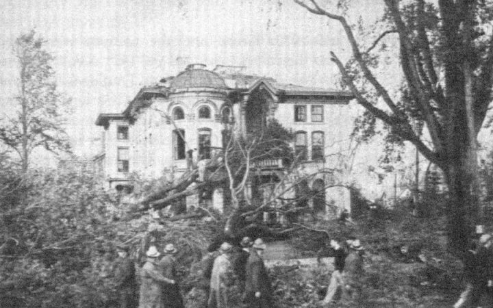 Hale building on the Keene State College campus was crushed by fallen trees during the hurricane in 1938, This photo is from Striving, a Keene State College book published in 1984 and written by James G. Smart.