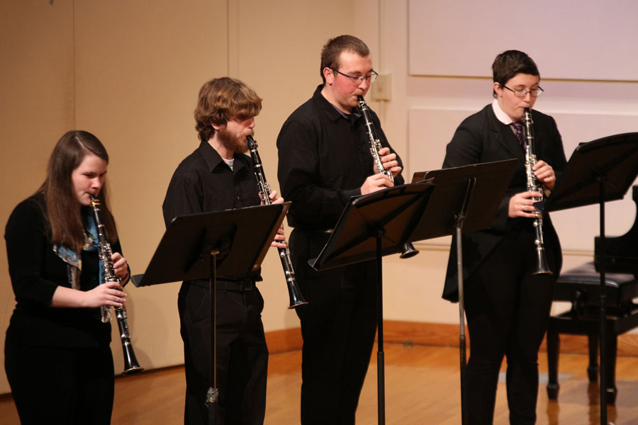 On Saturday , Dec. 9, the Sting, Flute and Clarinet Ensembles performed in the Alumni Recital Hall. The Clarinet Choir began the concert, followed by the Flute Ensemble and the String players.