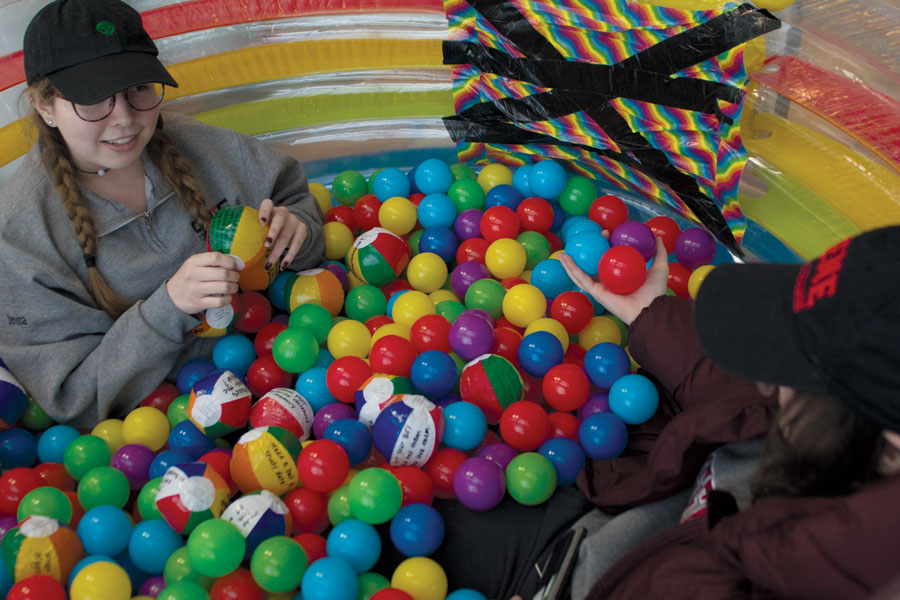 The truth or dare ball pit is currently located in the L.P. Young Student Center on the first floor. The ball pit was an idea by the authenticity project and has been going on for a couple of weeks. The ball pit includes both truths and dares and they will tell students to either complete a task or tell a truth. One example of a ball included posting a photo of oneself in the ball pit to twitter. Any student, staff or faculty member is welcome to take a ball from the ball pit at any time they stop by the Student Center.