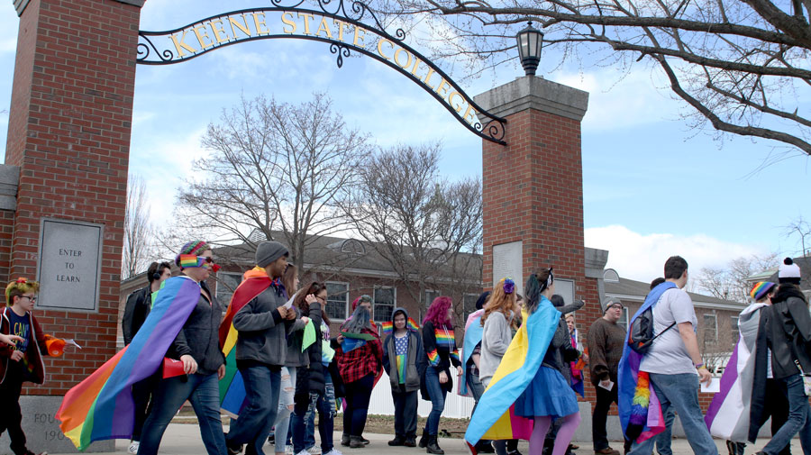 "The Keene State College Pride Parade occurred on Saturday, April 7 down Appian Way from 12 p.m. to 2 p.m. Allies, Keene community members and other individuals marched to celebrate the LGBTQ+ community. See the full story ""KSC students celebrate their pride"" on B2."