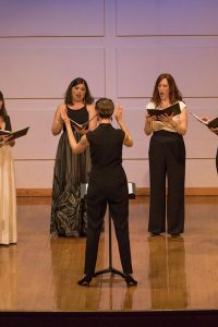 """On Thursday, April 12, the Lorelei Ensemble performed in the Alumni Recital Hall at the Redfern Arts Center. The all-women's group is based out of Boston, Massachusetts, and the New York Times described the group's sound as """"warm, lithe, and beautifully blended."""" The ensemble works with both established and up and coming composers to show the strength of the human voice."""